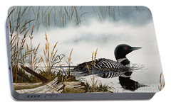 Loons Misty Shore Portable Battery Charger by James Williamson