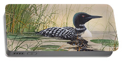 Loon's Tranquil Shore Portable Battery Charger by James Williamson