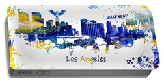 Los Angeles California Skyline Yellow Blue Portable Battery Charger by Justyna JBJart