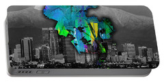 Los Angeles Map And Skyline Watercolor Portable Battery Charger by Marvin Blaine