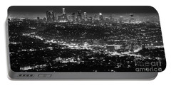 Los Angeles Skyline At Night Monochrome Portable Battery Charger by Bob Christopher
