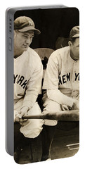 Lou Gehrig And Babe Ruth Portable Battery Charger by Bill Cannon