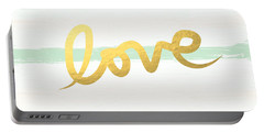 Love In Mint And Gold Portable Battery Charger by Linda Woods
