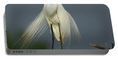 Majestic Great Egret Portable Battery Charger by Bob Christopher