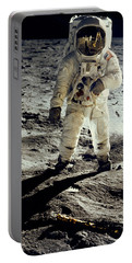 Man On The Moon Portable Battery Charger by Neil Armstrong/Underwood Archive