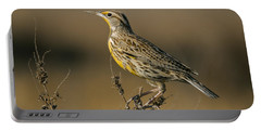 Meadowlark On Weed Portable Battery Charger by Robert Frederick