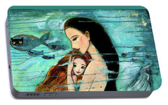 Mermaid Mother And Child Portable Battery Charger by Shijun Munns