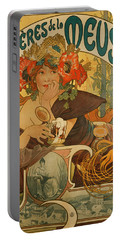 Meuse Beer Portable Battery Charger by Alphonse Marie Mucha