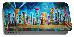 Miami City South Beach Original Painting Tropical Cityscape Art Miami Night Life By Madart Absolut X Portable Battery Charger by Megan Duncanson