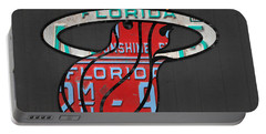 Miami Heat Basketball Team Retro Logo Vintage Recycled Florida License Plate Art Portable Battery Charger by Design Turnpike