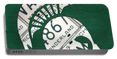 Michigan State Spartans Sports Retro Logo License Plate Fan Art Portable Battery Charger by Design Turnpike