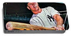 Mickey Mantle Painting Portable Battery Charger by Florian Rodarte