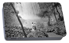 Portable Battery Charger featuring the photograph Minnehaha Falls Minneapolis Minnesota 1915 Vintage Photograph by A Gurmankin
