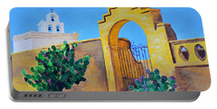 Portable Battery Charger featuring the painting Mission San Xavier by Rodney Campbell