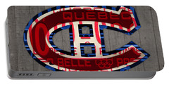 Montreal Canadiens Hockey Team Retro Logo Vintage Recycled Quebec Canada License Plate Art Portable Battery Charger by Design Turnpike