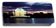 Monument Lit Up At Dusk, Jefferson Portable Battery Charger by Panoramic Images