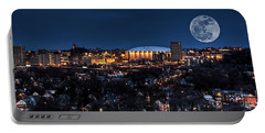 Moon Over The Carrier Dome Portable Battery Charger by Everet Regal