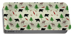 Moose And Bear Pattern Portable Battery Charger by Christina Rollo