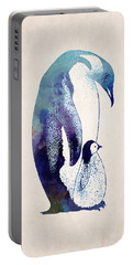 Mother And Baby Penguin Portable Battery Charger by World Art Prints And Designs