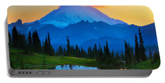 Mount Rainier Goodnight Portable Battery Charger by Inge Johnsson