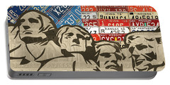 Mount Rushmore Monument Vintage Recycled License Plate Art Portable Battery Charger by Design Turnpike