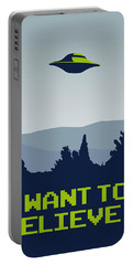 My I Want To Believe Minimal Poster Portable Battery Charger by Chungkong Art