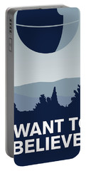 My I Want To Believe Minimal Poster-deathstar Portable Battery Charger by Chungkong Art
