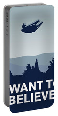 My I Want To Believe Minimal Poster-millennium Falcon Portable Battery Charger by Chungkong Art