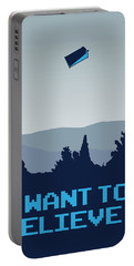 My I Want To Believe Minimal Poster- Tardis Portable Battery Charger by Chungkong Art