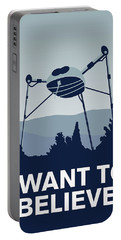 My I Want To Believe Minimal Poster-war-of-the-worlds Portable Battery Charger by Chungkong Art