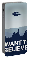 My I Want To Believe Minimal Poster-xfiles Portable Battery Charger by Chungkong Art