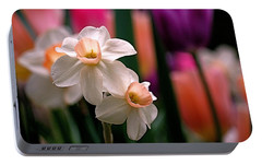 Narcissus And Tulips Portable Battery Charger by Rona Black
