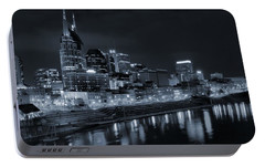 Nashville Skyline At Night Portable Battery Charger by Dan Sproul
