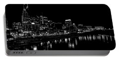 Nashville Skyline At Night In Black And White Portable Battery Charger by Dan Sproul