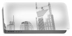 Nashville Skyline Sketch Batman Building Portable Battery Charger by Dan Sproul