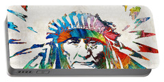 Native American Art - Chief - By Sharon Cummings Portable Battery Charger by Sharon Cummings