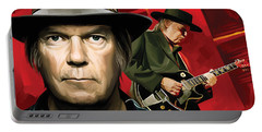 Neil Young Artwork Portable Battery Charger by Sheraz A