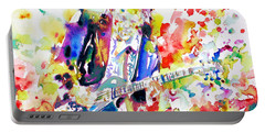 Neil Young Playing The Guitar - Watercolor Portrait.2 Portable Battery Charger by Fabrizio Cassetta