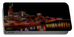 Neon Nashville Skyline At Night Portable Battery Charger by Dan Sproul
