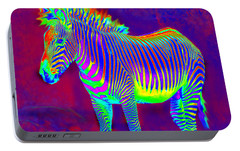 Neon Zebra Portable Battery Charger by Jane Schnetlage