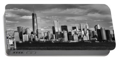 New York City Skyline Black And White Portable Battery Charger by Dan Sproul