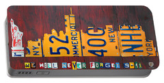 New York City Skyline License Plate Art 911 Twin Towers Statue Of Liberty Portable Battery Charger by Design Turnpike