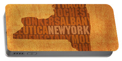 New York Word Art State Map On Canvas Portable Battery Charger by Design Turnpike