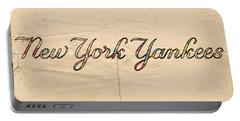 New York Yankees Logo Vintage Portable Battery Charger by Florian Rodarte