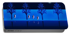 Night Walk Of The Penguins Portable Battery Charger by David Dehner