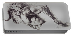 North American Minotaur Pencil Sketch Portable Battery Charger by Derrick Higgins