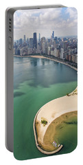 North Avenue Beach Chicago Aerial Portable Battery Charger by Adam Romanowicz