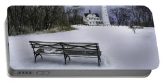 North Point Lighthouse And Bench Portable Battery Charger by Scott Norris