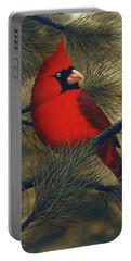 Northern Cardinal Portable Battery Charger by Rick Bainbridge