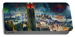 Nyc In Fourth Of July Independence Day Portable Battery Charger by Ylli Haruni